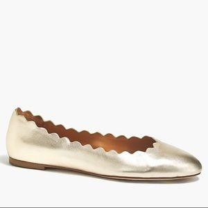 J Crew Metallic Gold Scalloped Ballet Flats 8.5